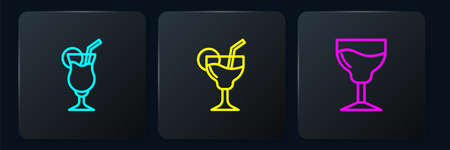 Set line Cocktail, Wine glass and . Black square button. Vector 向量圖像