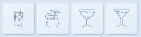 Set line Cocktail Bloody Mary, Wine glass, and Martini. White square button. Vector 向量圖像