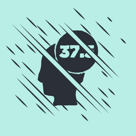 Black High human body temperature or get fever icon isolated on green background. Disease, cold, flu symptom. Glitch style. Vector