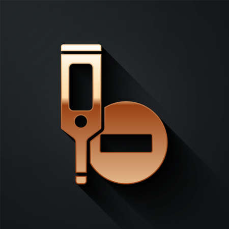 Gold Medical digital thermometer for medical examination icon isolated on black background. Long shadow style. Vector