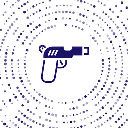 Blue Pistol or gun icon isolated on white background. Police or military handgun. Small firearm. Abstract circle random dots. Vector