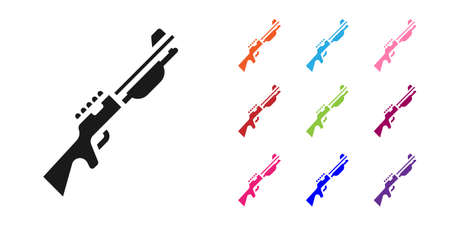 Black Hunting gun icon isolated on white background. Hunting shotgun. Set icons colorful. Vector