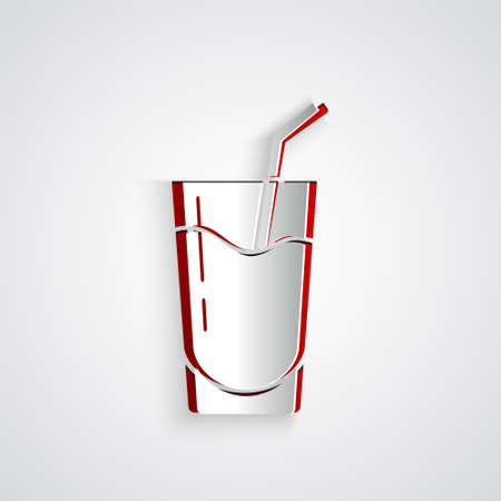 Paper cut Cocktail and alcohol drink icon isolated on grey background. Paper art style. Vector