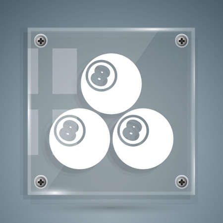 White Billiard pool snooker ball with number 8 icon isolated on grey background. Square glass panels. Vector