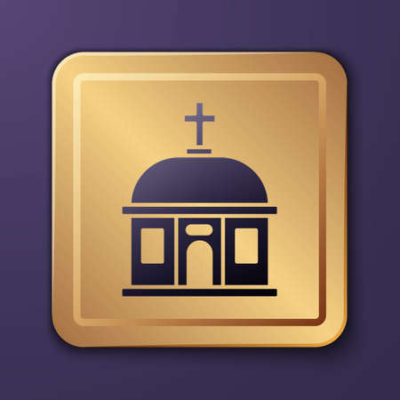 Purple Santorini building icon isolated on purple background. Traditional Greek white houses with blue roofs European culture. Gold square button. Vector