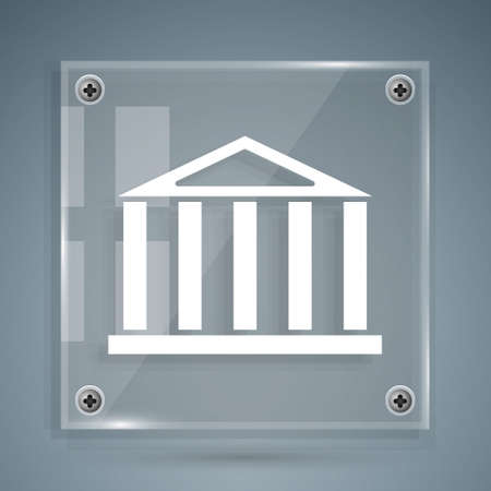 White Parthenon from Athens, Acropolis, Greece icon isolated on grey background. Greek ancient national landmark. Square glass panels. Vector