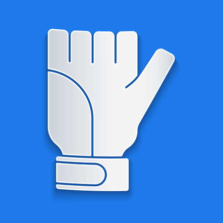 Paper cut Gloves icon isolated on blue background. Extreme sport. Sport equipment. Paper art style. Vector