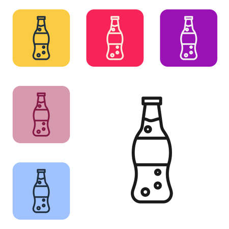 Black line Bottle of water icon isolated on white background. Soda aqua drink sign. Set icons in color square buttons. Vector Illustration