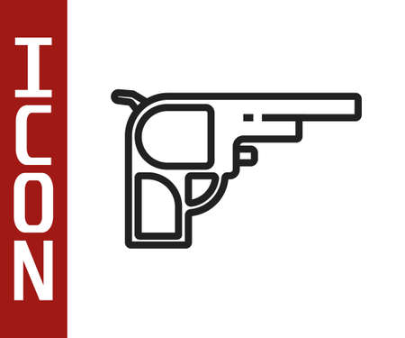 Black line Revolver gun icon isolated on white background. Vector