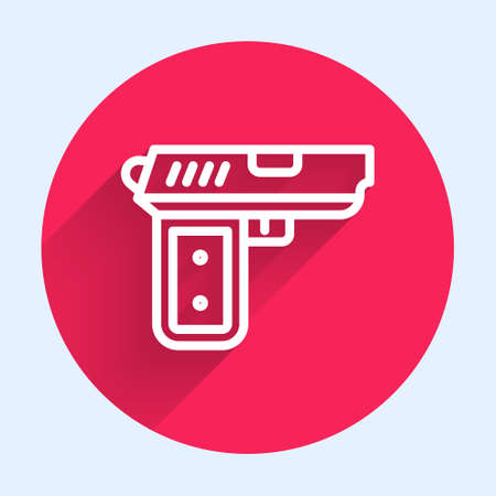 White line Pistol or gun icon isolated with long shadow. Police or military handgun. Small firearm. Red circle button. Vector Illustration