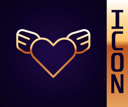 Gold line Heart with wings icon isolated on black background. Love symbol. Valentines day. Vector Stock Illustratie