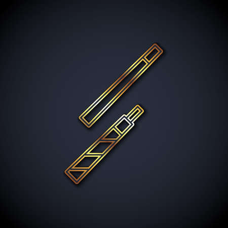Gold line Billiard cue icon isolated on black background. Vector