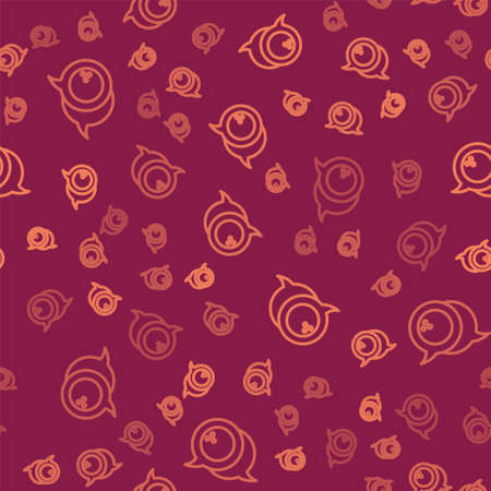 Brown line Bowling ball icon isolated seamless pattern on red background. Sport equipment. Vector