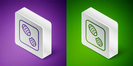 Isometric line Human footprints shoes icon isolated on purple and green background. Shoes sole. Silver square button. Vector