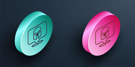 Isometric line Greek helmet icon isolated on black background. Antiques helmet for head protection soldiers with a crest of feathers or horsehair. Turquoise and pink circle button. Vector