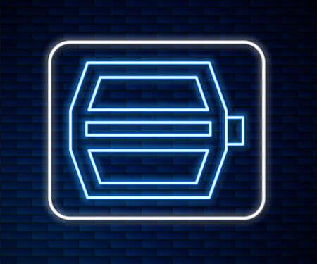 Glowing neon line Bicycle pedal icon isolated on brick wall background. Vector