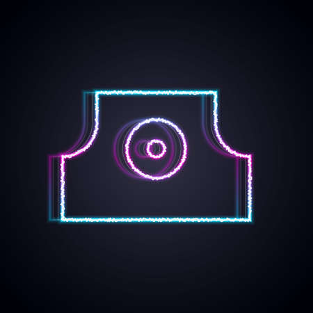 Glowing neon line Spray can nozzle cap icon isolated on black background. Vector