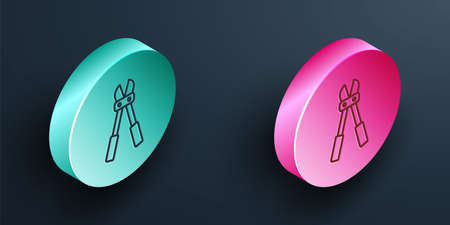 Isometric line Bolt cutter icon isolated on black background. Scissors for reinforcement bars tool. Turquoise and pink circle button. Vector