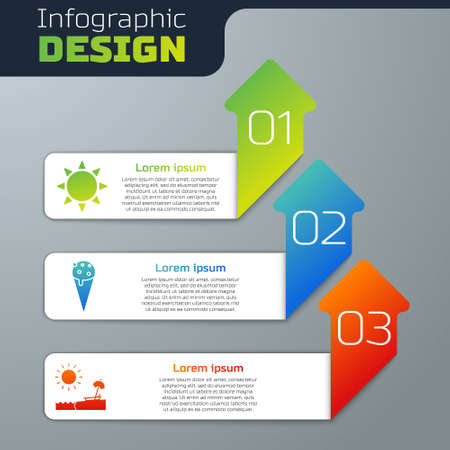 Set Sun, Ice cream in waffle cone and Beach with umbrella and chair. Business infographic template. Vector