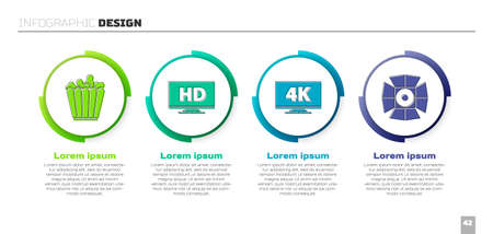 Set Popcorn in box, Smart display with HD video, Screen tv   and Movie spotlight. Business infographic template. Vector