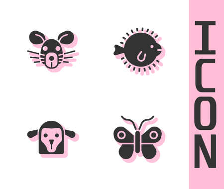Set Butterfly, Rat head, Sheep and Puffer fish icon. Vector