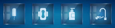 Set Sanitary tampon, napkin, Bottle of shampoo and Washing hands with soap. Square glass panels. Vector