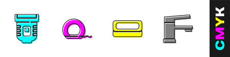 Set Epilator, Dental floss, Bar of soap and Water tap icon. Vector