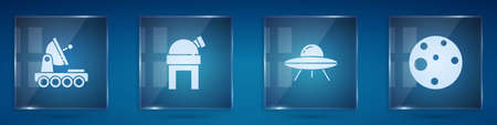 Set Astronomical observatory, UFO flying spaceship and Planet. Square glass panels. Vector