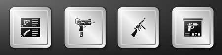 Set Weapon catalog,   submachine gun,   and Military ammunition box icon. Silver square button. Vector Illustration