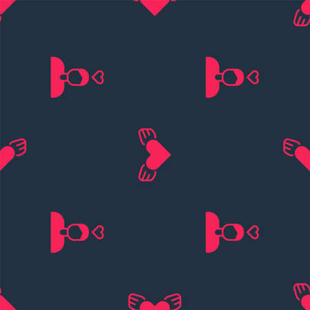 Set Couple in love and Heart with wings on seamless pattern. Vector