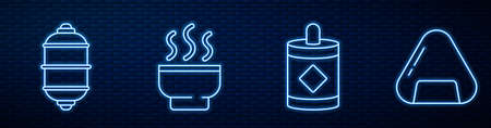 Set line Firework, Chinese paper lantern, Chinese tea ceremony, Sushi and Jar of honey. Glowing neon icon on brick wall. Vector