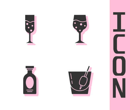 Set Cocktail Bloody Mary, Glass of champagne, Alcohol drink Rum and icon. Vector