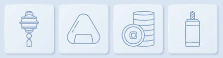 Set line Chinese paper lantern, Chinese Yuan currency, Sushi and Firework. White square button. Vector