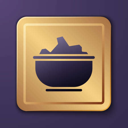 Purple Sea salt in a bowl icon isolated on purple background. Gold square button. Vector Illustration