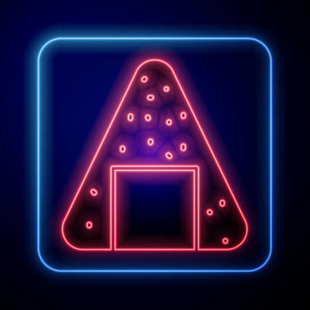 Glowing neon Onigiri icon isolated on blue background. Japanese food. Vector Illustration 向量圖像