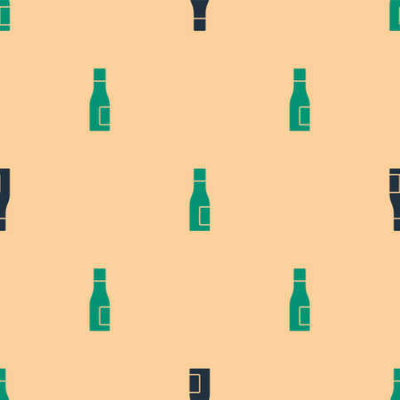 Green and black Bottle of water icon isolated seamless pattern on beige background. Soda aqua drink sign. Vector Ilustração