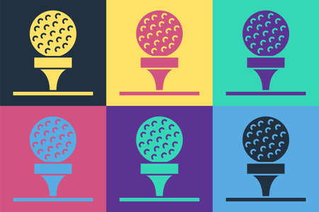 Pop art Golf ball on tee icon isolated on color background. Vector
