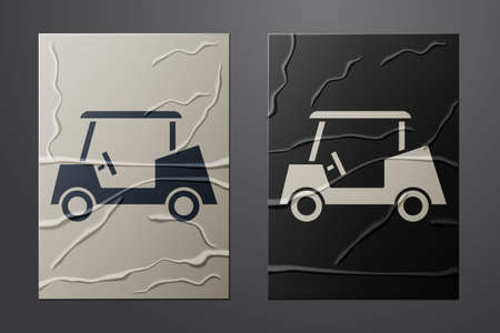 White Golf car icon isolated on crumpled paper background. Golf cart. Paper art style. Vector