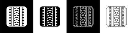 Set Tire track icon isolated on black and white background. Vector