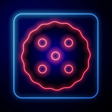 Glowing neon Cookie or biscuit with chocolate icon isolated on black background. Vector