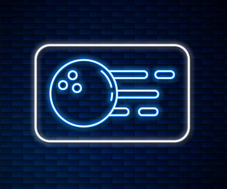 Glowing neon line Bowling ball icon isolated on brick wall background. Sport equipment. Vector