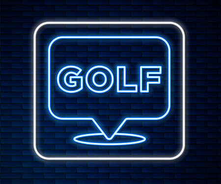 Glowing neon line Golf label icon isolated on brick wall background. Vector Ilustração