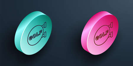 Isometric line Golf sport club icon isolated on black background. Turquoise and pink circle button. Vector