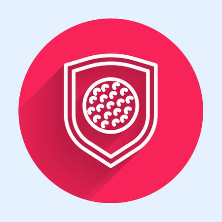 White line Golf ball with shield icon isolated with long shadow. Red circle button. Vector