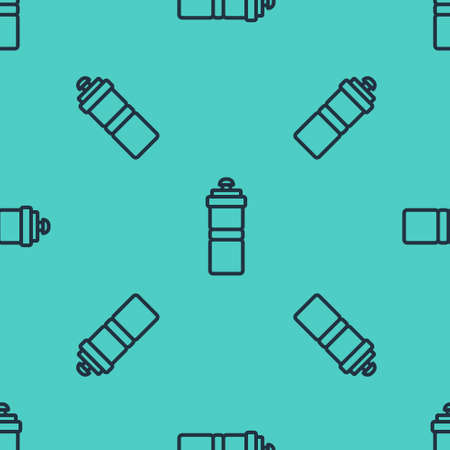 Black line Sport bottle with water icon isolated seamless pattern on green background. Vector Ilustração