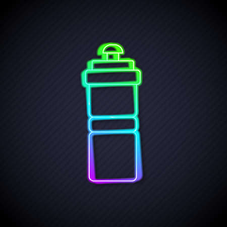 Glowing neon line Sport bottle with water icon isolated on black background. Vector
