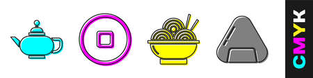 Set Chinese tea ceremony, Chinese Yuan currency, Asian noodles in bowl and Sushi icon. Vector