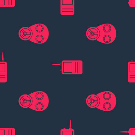 Set Gas mask and Walkie talkie on seamless pattern. Vector