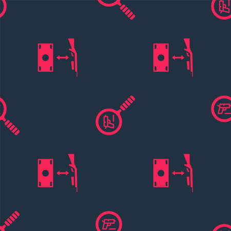 Set Buying assault rifle and Pistol or gun search on seamless pattern. Vector
