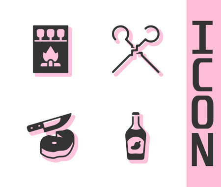 Set Ketchup bottle, Matchbox and matches, Steak meat knife and BBQ skewers icon. Vector